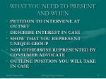 what you need to present and when