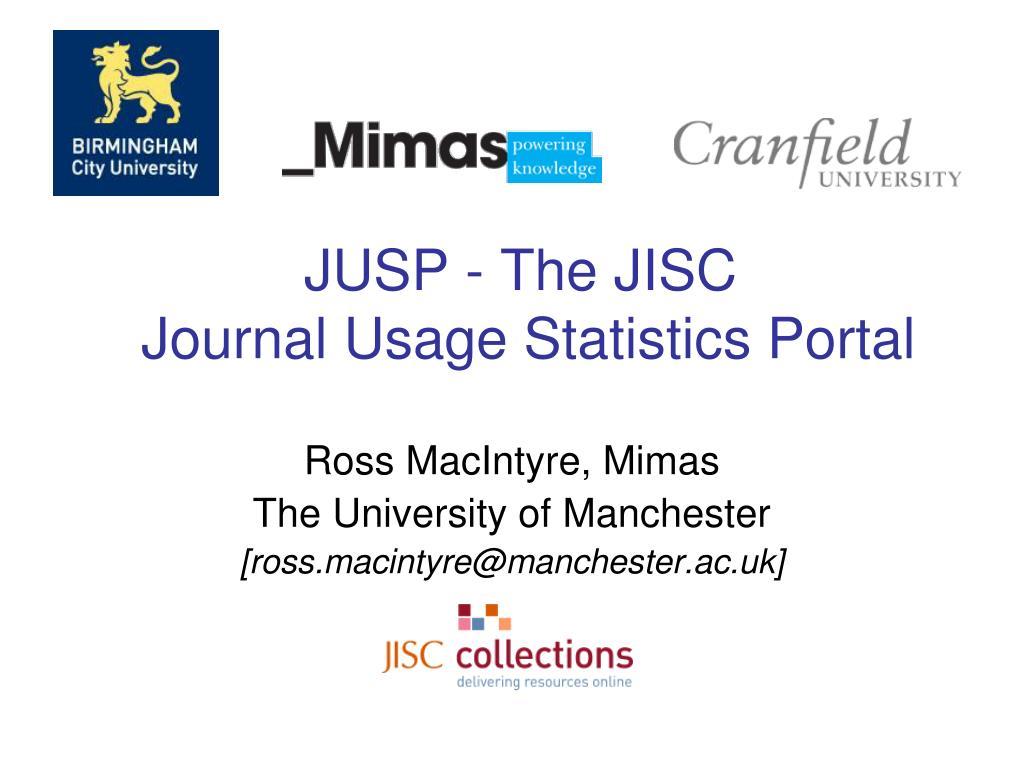 jusp the jisc journal usage statistics portal l.