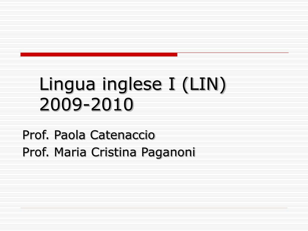 lingua inglese i lin 2009 2010 l.