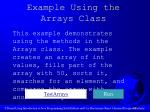example using the arrays class