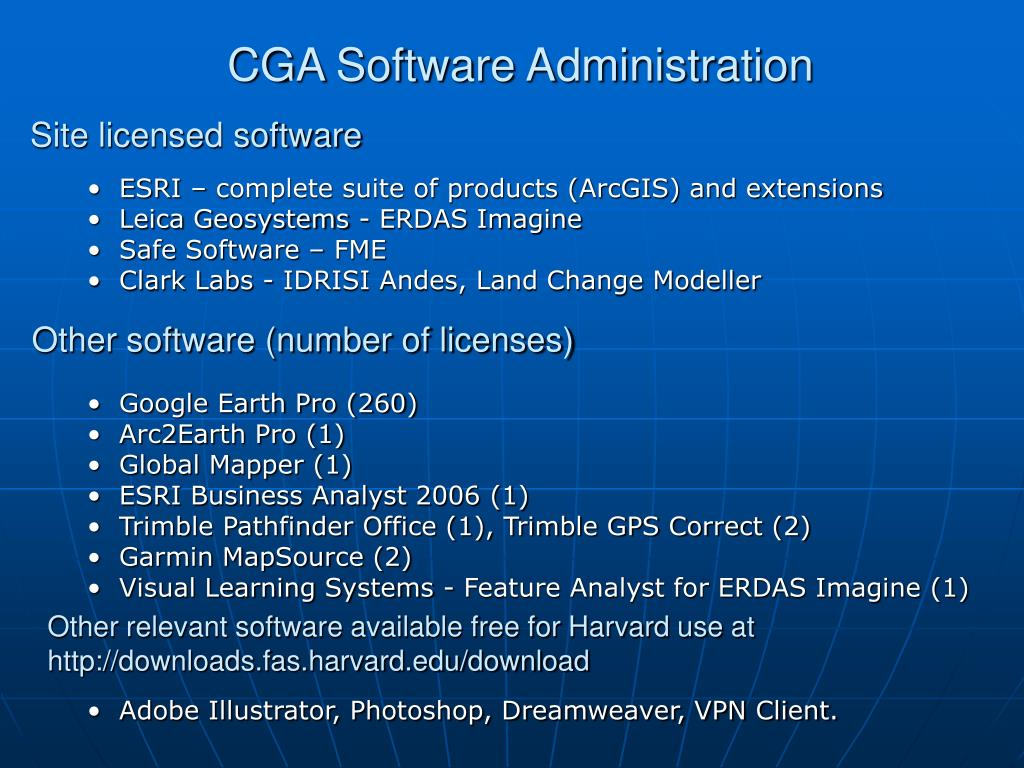 CGA Software Administration