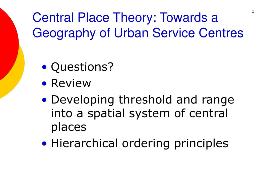 central place theory towards a geography of urban service centres l.