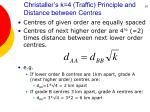 christaller s k 4 traffic principle and distance between centres