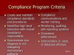 compliance program criteria