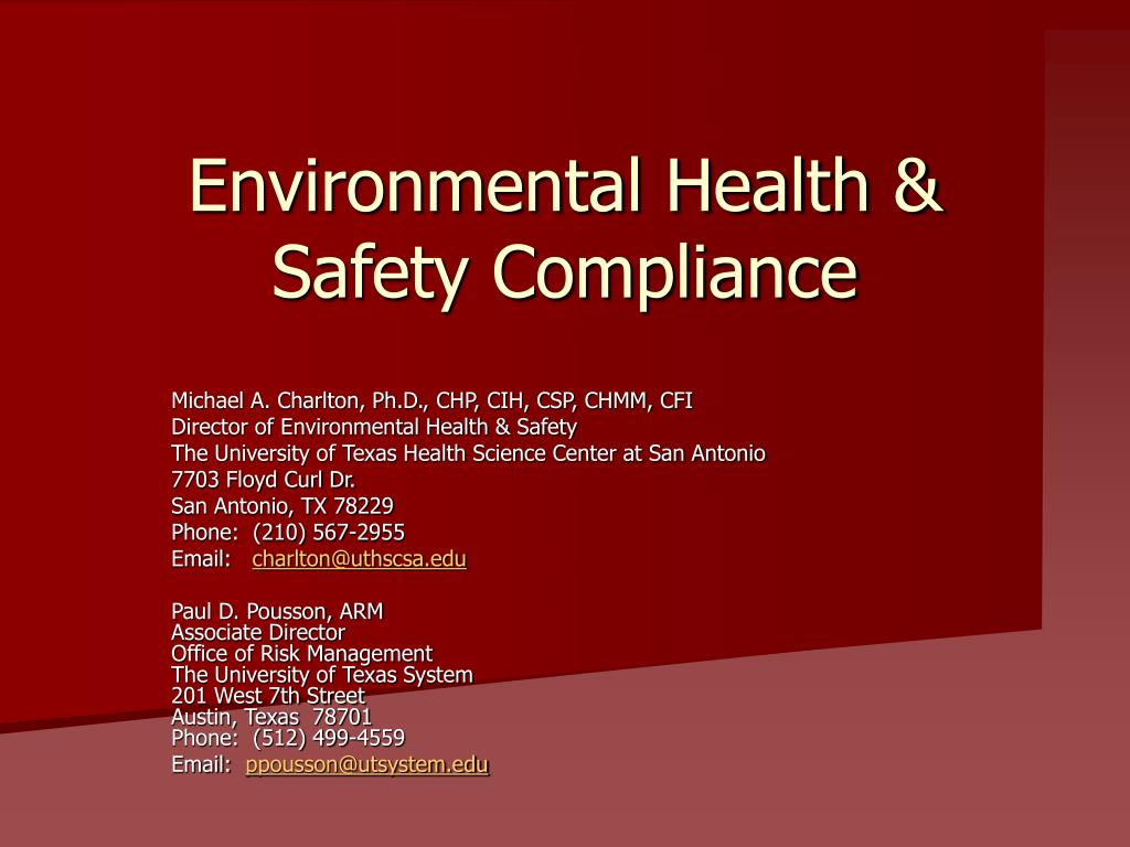 environmental health safety compliance l.
