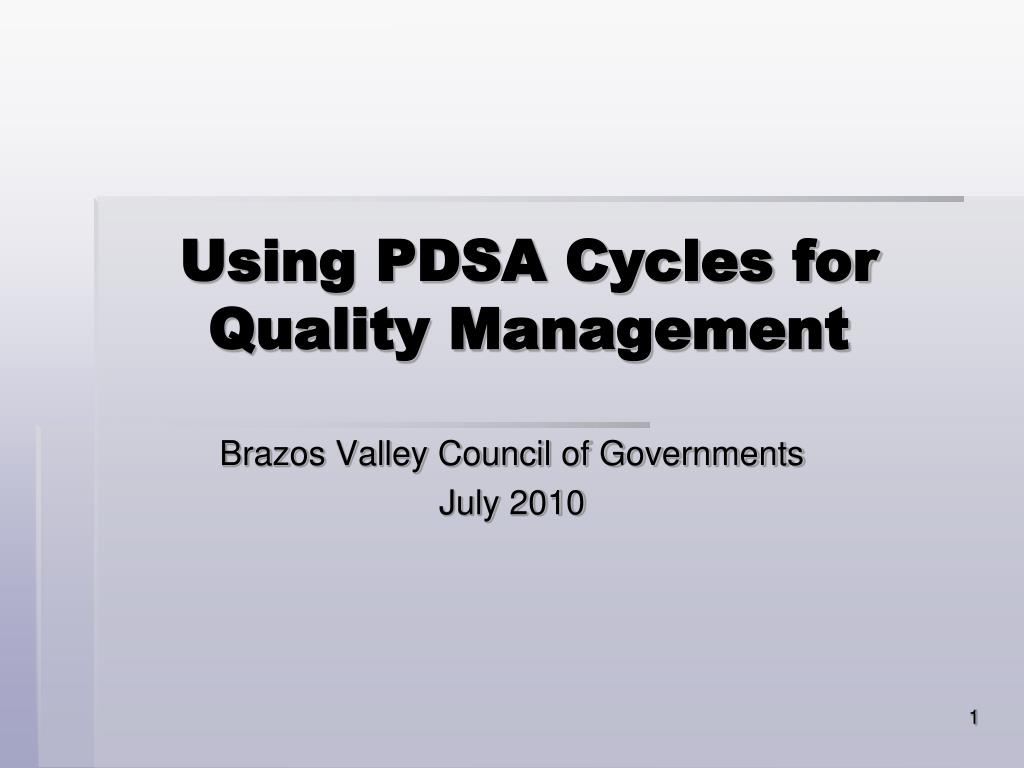 using pdsa cycles for quality management l.