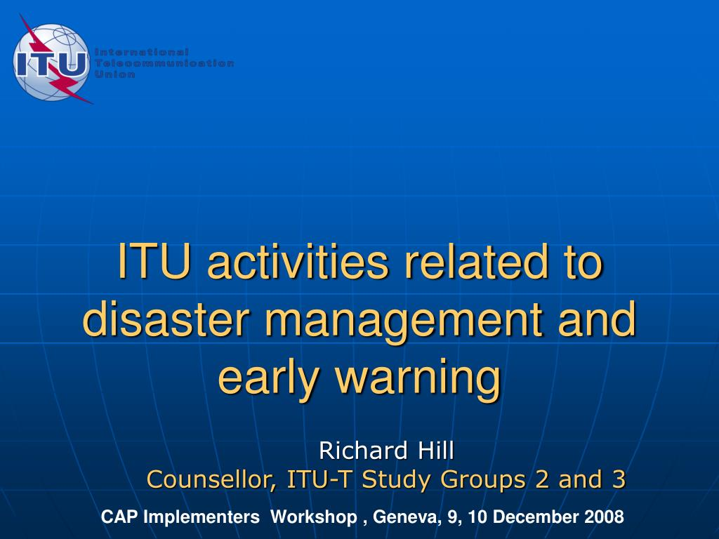 itu activities related to disaster management and early warning l.