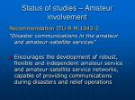 status of studies amateur involvement