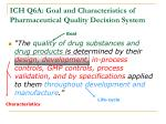 ich q6a goal and characteristics of pharmaceutical quality decision system