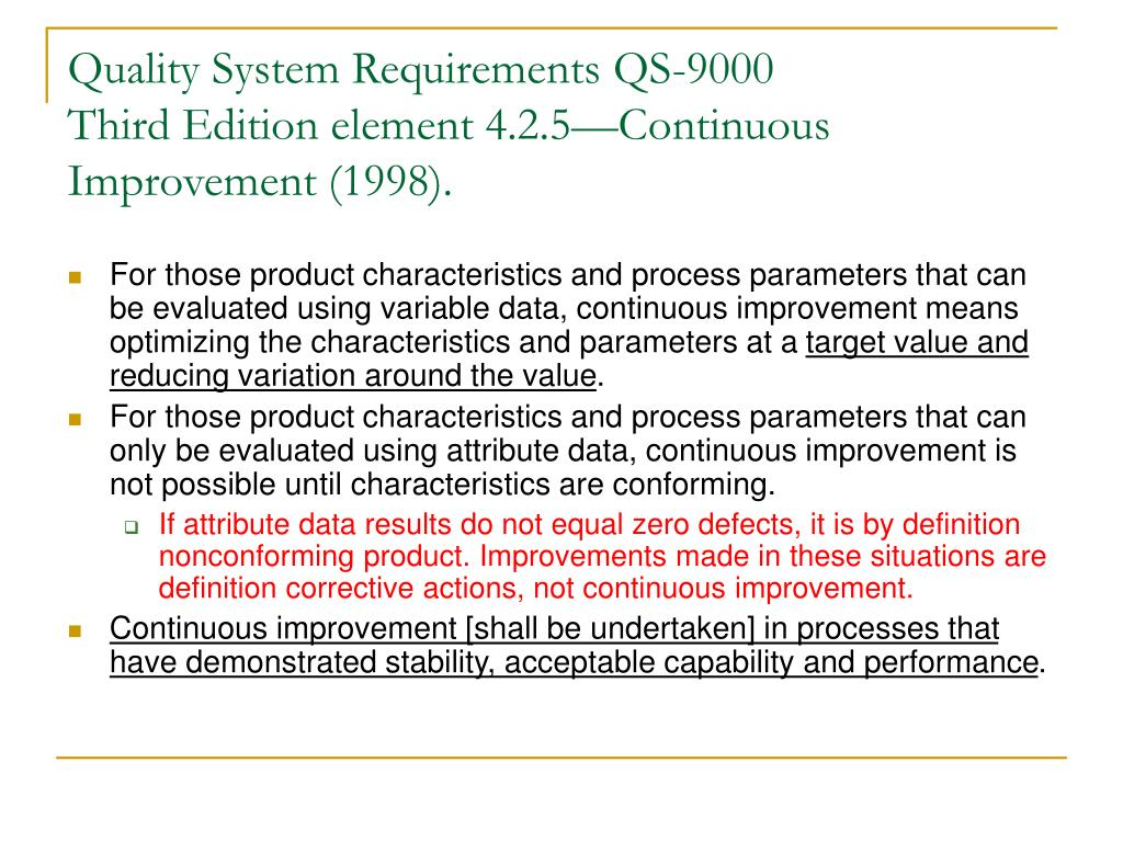 Quality System Requirements QS-9000