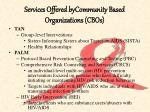 services offered bycommunity based organizations cbos