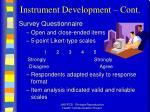 instrument development cont