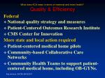 what does aca mean in terms of maternal and infant health quality efficiency