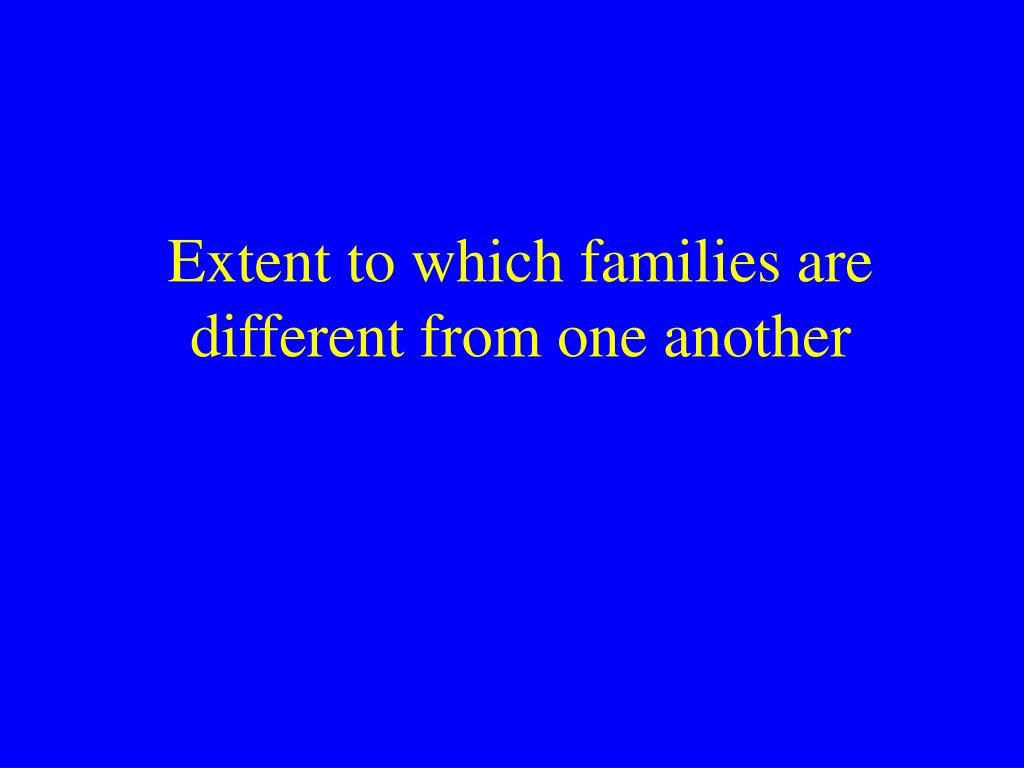 Extent to which families are different from one another