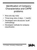 identification of company characteristics and capm problems