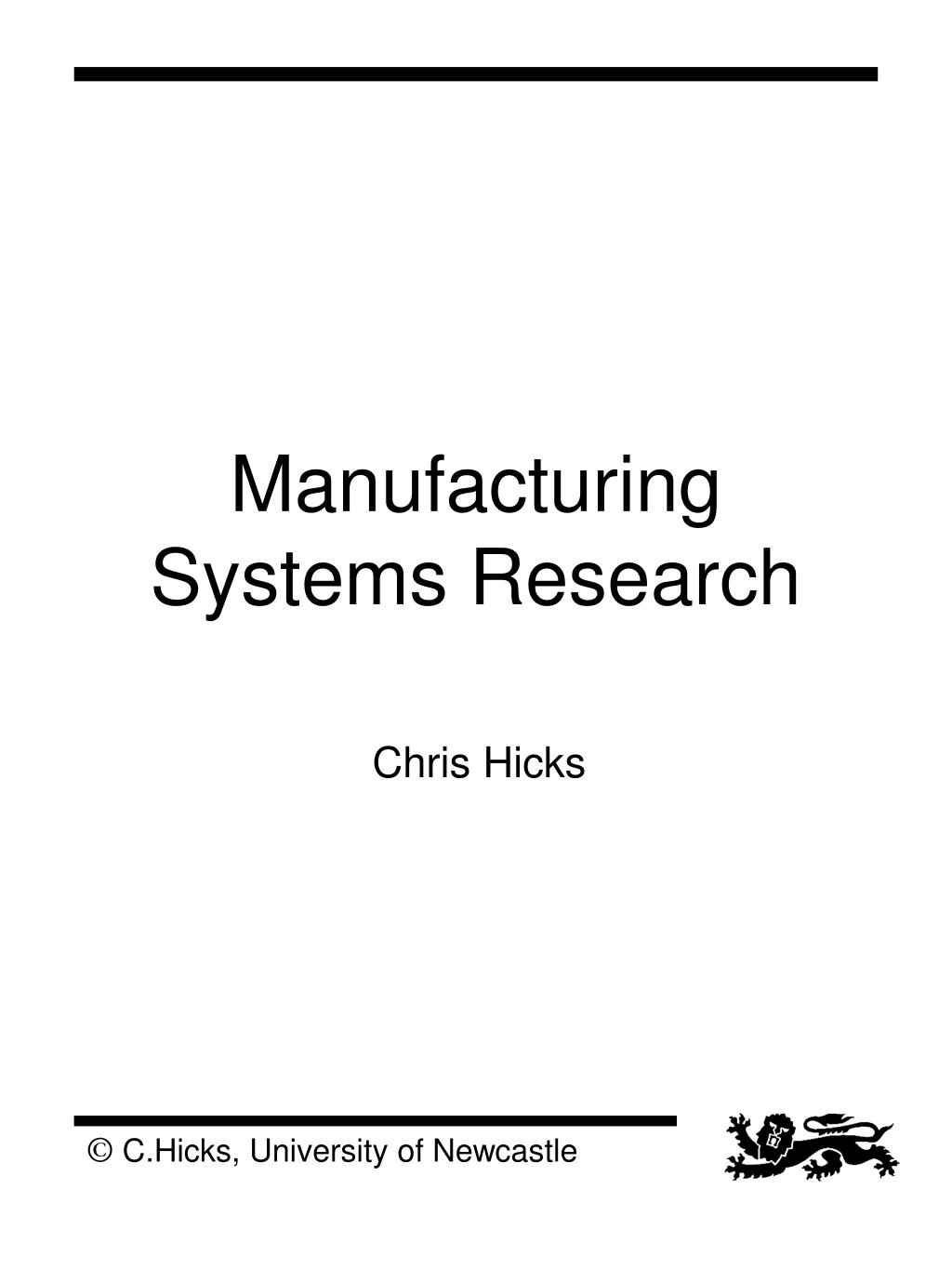 manufacturing systems research l.