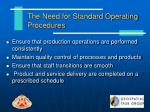 the need for standard operating procedures