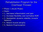 rehabilitation program for the overhead thrower
