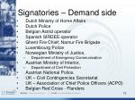 signatories demand side
