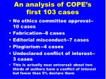 an analysis of cope s first 103 cases11