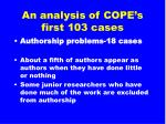 an analysis of cope s first 103 cases9