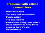 problems with ethics committees15