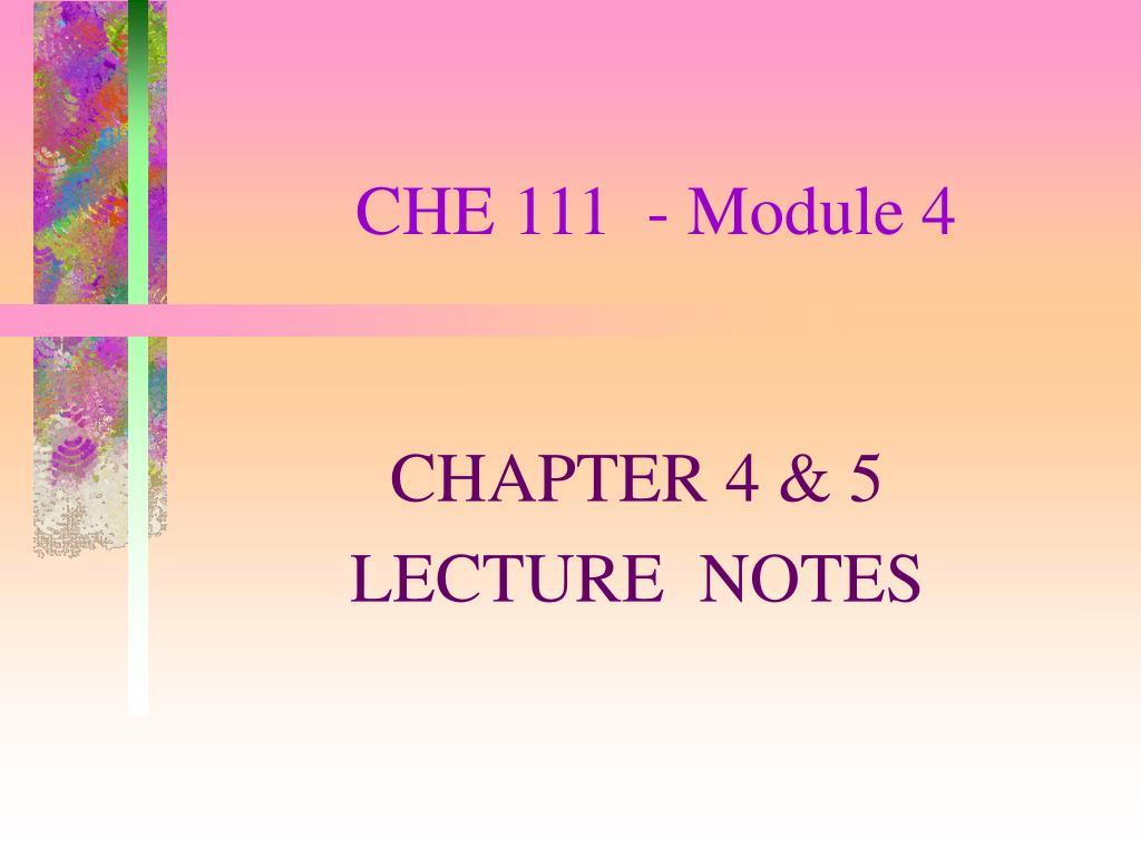 che 111 module 4 l.
