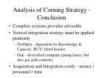 analysis of corning strategy conclusion