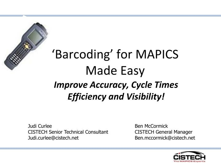barcoding for mapics made easy n.
