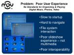 problem poor user experience no standards for organizing playing digital music photos video
