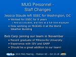 mug personnel staff changes