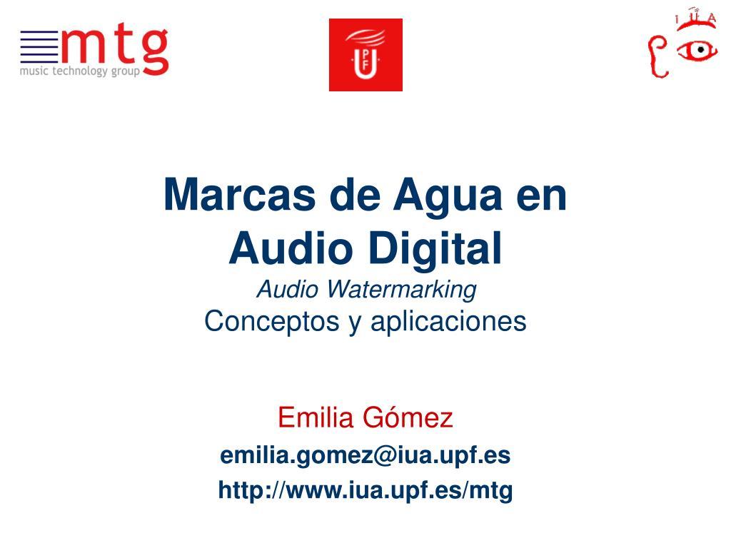 marcas de agua en audio digital audio watermarking conceptos y aplicaciones l.
