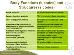 body functions b codes and structures s codes