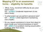 mapping icf to an assessment forms eligibility for benefits