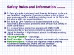 safety rules and information continued