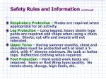 safety rules and information continued17