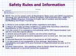 safety rules and information