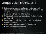 unique column constraints