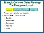 strategic customer sales planning the preapproach cont14