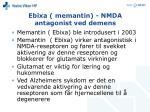 ebixa memantin nmda antagonist ved demens