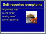 self reported symptoms