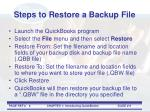 steps to restore a backup file
