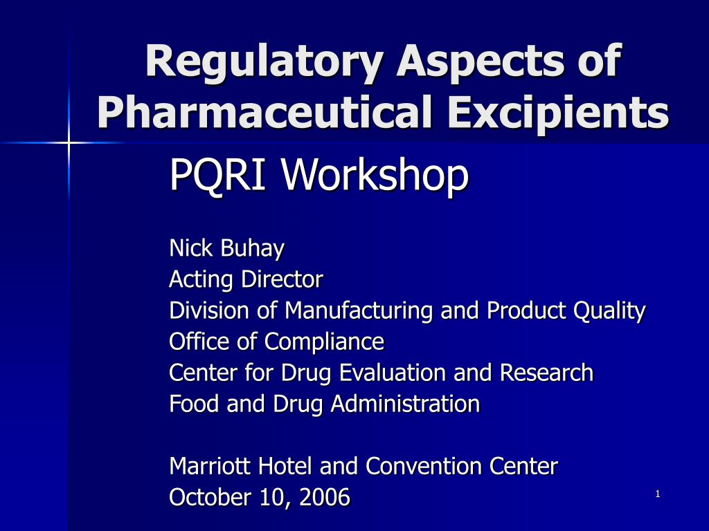 regulatory aspects of pharmaceutical excipients l.