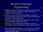 results of improper programming