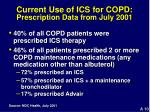 current use of ics for copd prescription data from july 2001