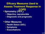 efficacy measures used to assess treatment response in copd