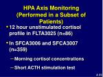 hpa axis monitoring performed in a subset of patients