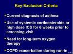 key exclusion criteria