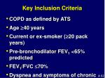 key inclusion criteria