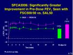 sfca3006 significantly greater improvement in pre dose fev 1 seen with fsc500 50 vs sal50